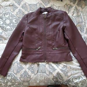 New York and Company dark maroon leather jacket